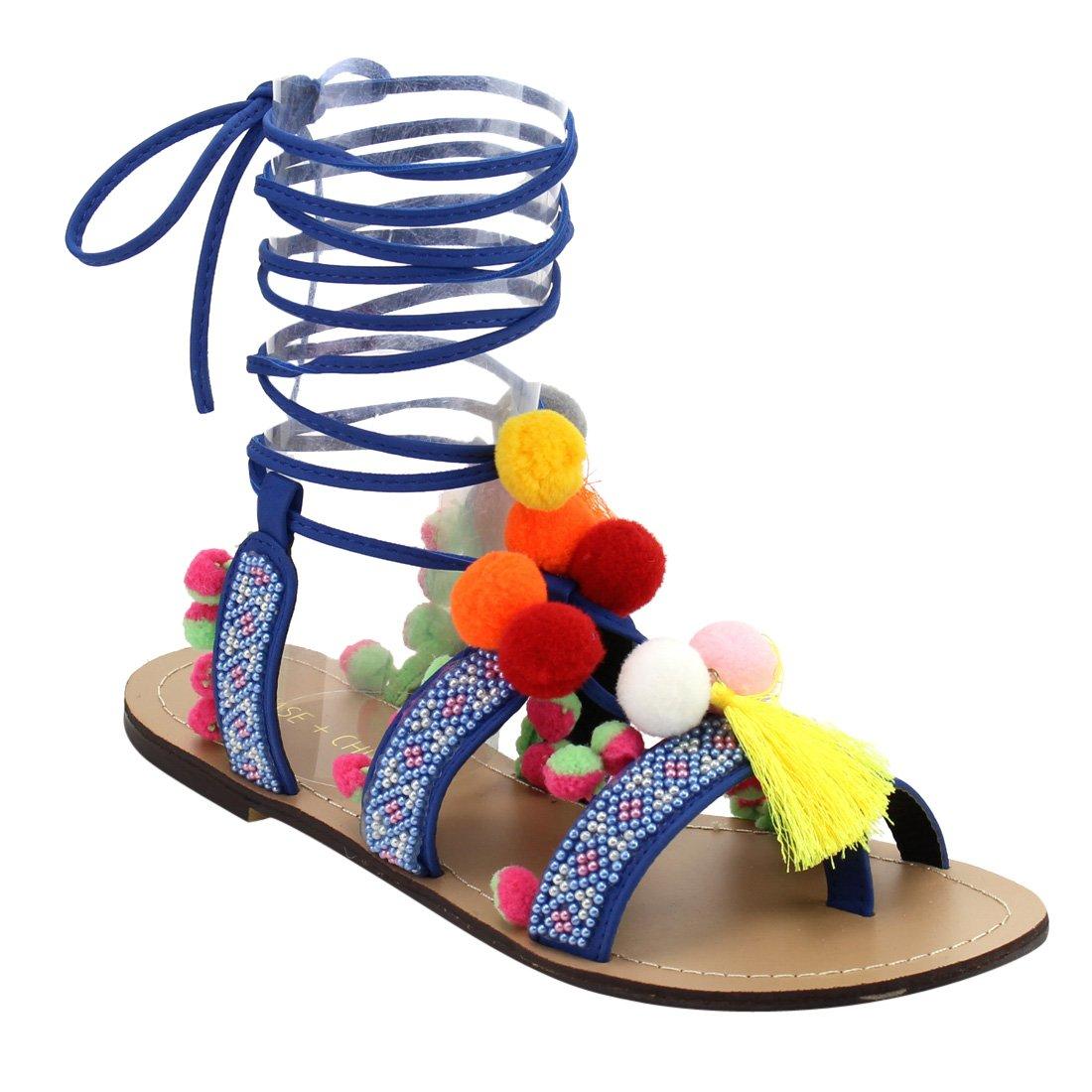 Chase & Chloe EF71 Women's Leg Wrap Tassel Pom-Pom Beads Flat Sandals, Color:BLUE, Size:6
