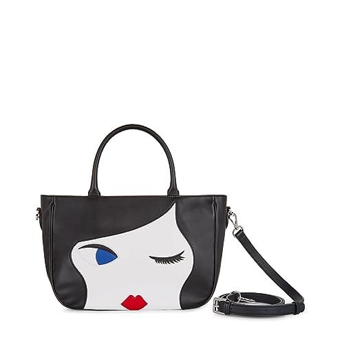63c25b292d54a Lulu Guinness Women s Wanda Top-Handle Bag Black (Black Chalk)  Amazon.co.uk   Shoes   Bags