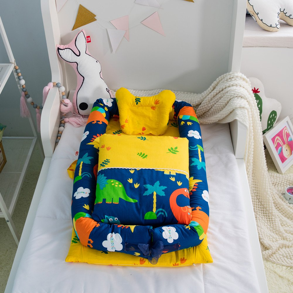 Baby Cot with Quilt (0-24 Months) Detachable Baby Isolated Bed Newborn Baby Sleeping Artifact Collapsible Bionic Bed (squirrel) JC Trumps