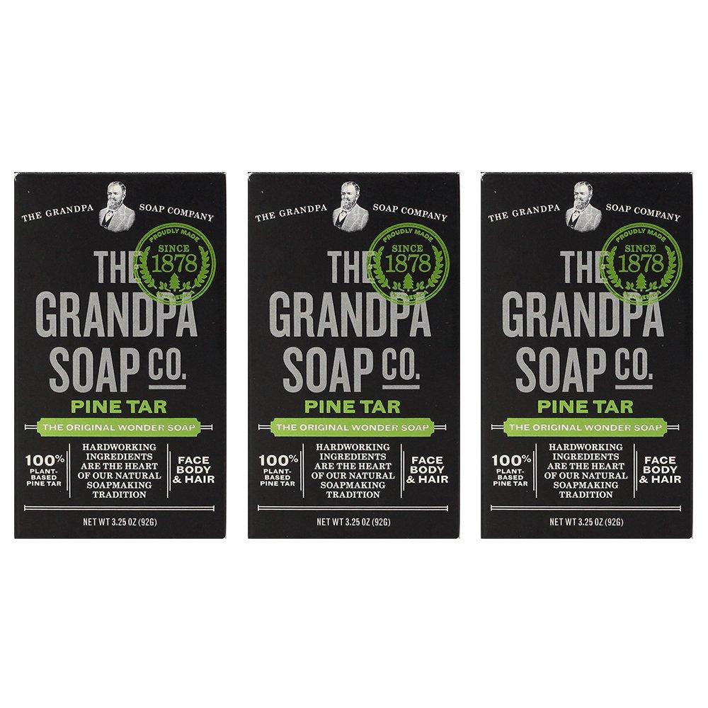 Grandpa's Pine Tar Bar Soap 3.25 Ounce (Pack of 3) by Grandpa's Brands Company