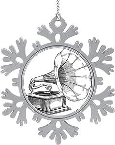 C COABALLA Gramophone - Ink,Cute 2020 Home Décor Hanging Snowflake Decorations Ornament Gramophone 1PCS