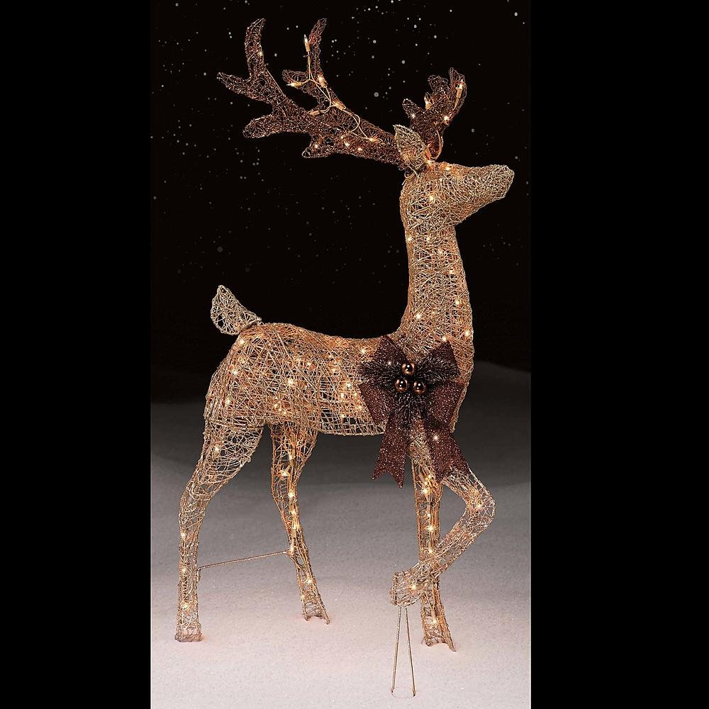 4 Foot Gold Buck Sculpture Deer Reindeer Outdoor Christmas Holiday Seasonal Decoration Display