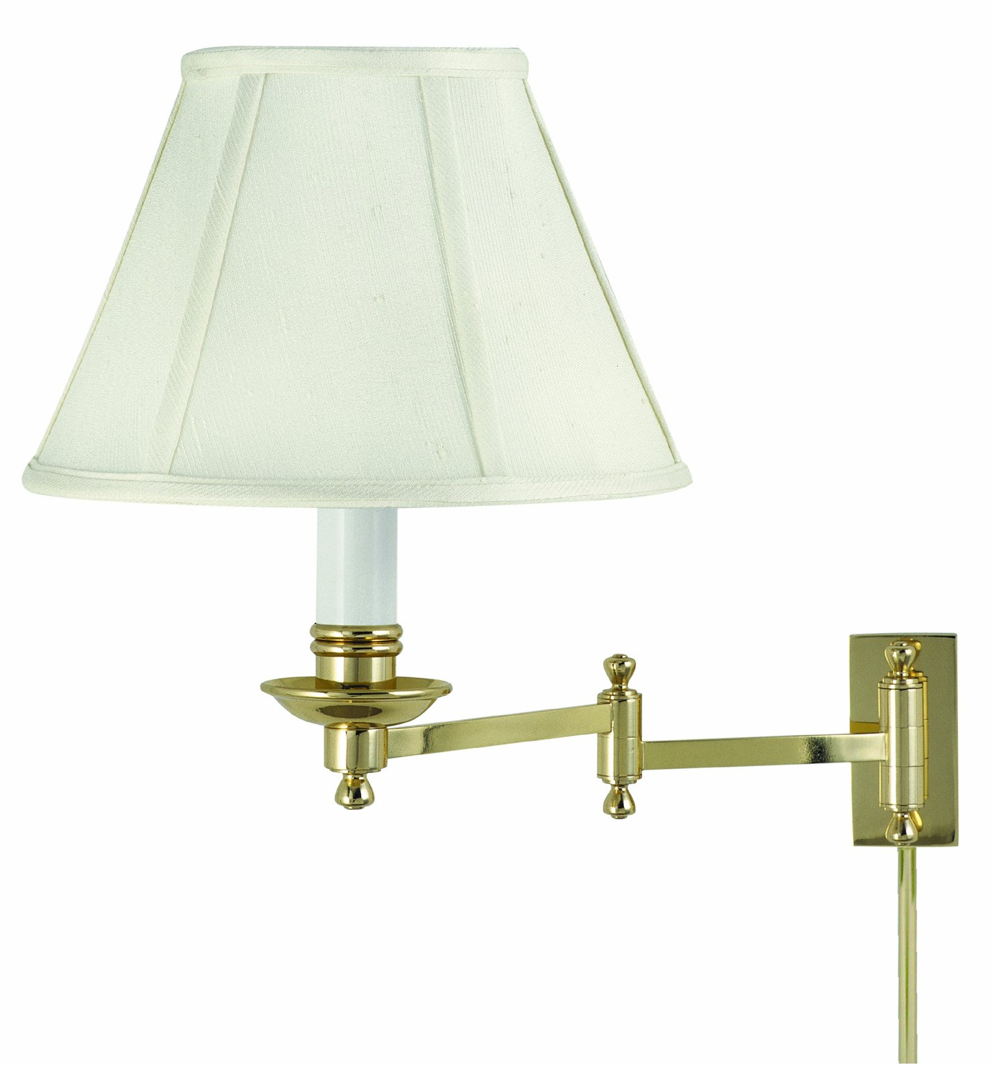 House of Troy LL660-PB Library Lamp Collection Swing Arm Wall Lamp Polished Brass with Off-white Softback Shade by House of Troy