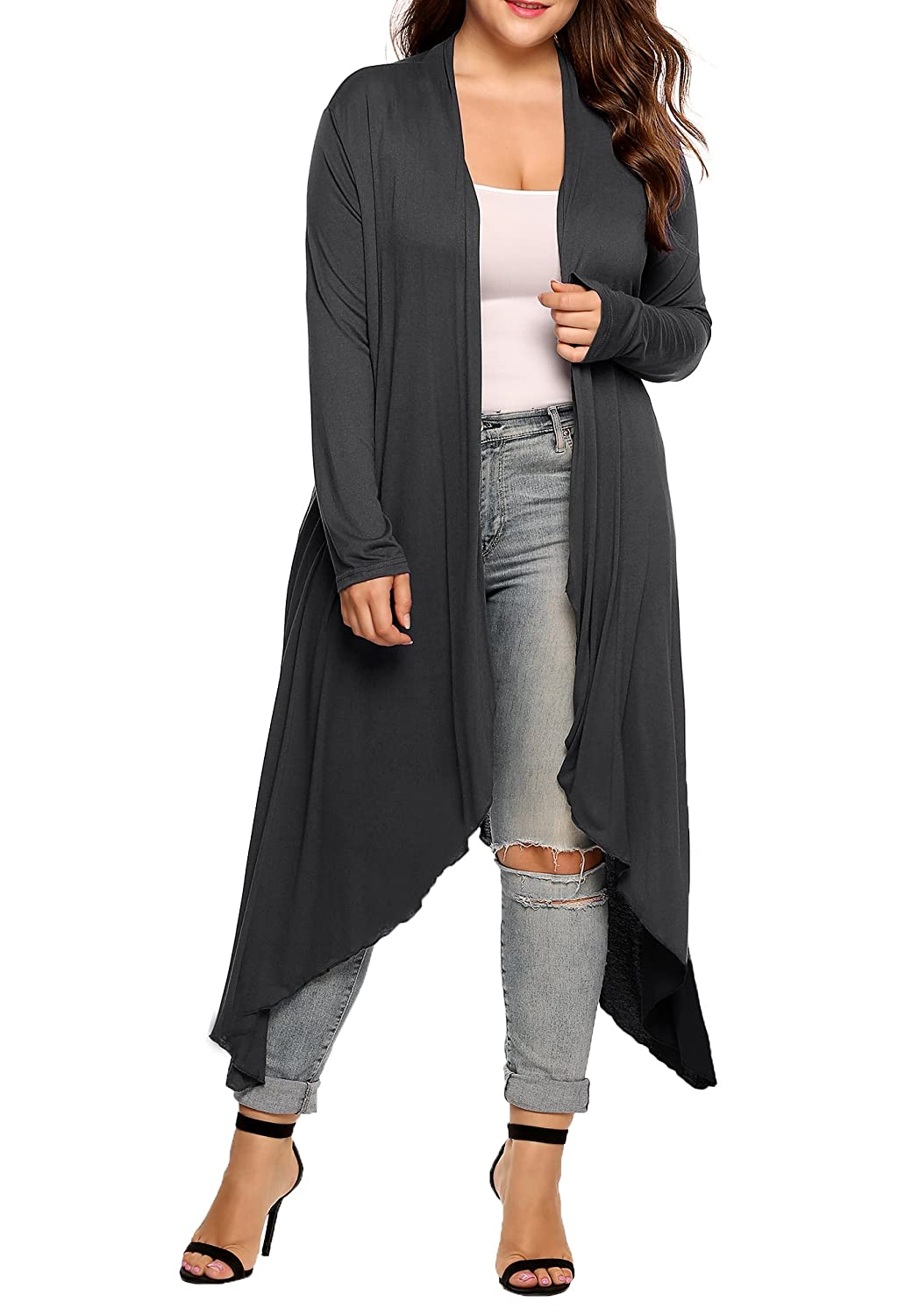 IN'VOLAND Women's Plus Size Long Sleeve Waterfall Asymmetric Drape Open Long Maxi Cardigan INH015596