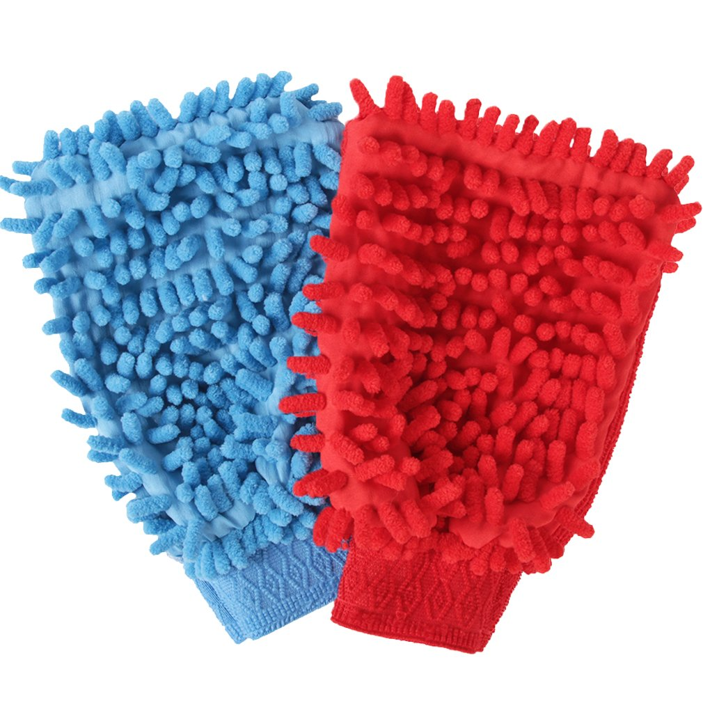 NEUAIR 8''x5'' Chenille Dusting&Polishing Mitt Kitchen Dust&Car Wash Cleaning Gloves, Two-Sided, Scratch-Free, Lint-Free, 2 Pack, Sky Blue&Red