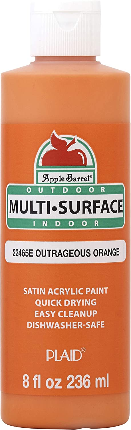 Apple Barrel Multi-Surface Paint in Assorted Colors (8 oz), Outrageous Orange
