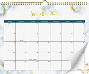 "Beautiful 2020-2021 Marble Wall Calendar with Gold Foil Finish - The Perfect 14.5"" x 11.5"" Monthly Calendar for Super Easy Planning from August 2020 - January 2022"