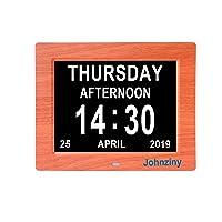 Johnziny Digital Calendar Day Clock- 8 Alarms Auto-Dim Battery Backup Extra Large...