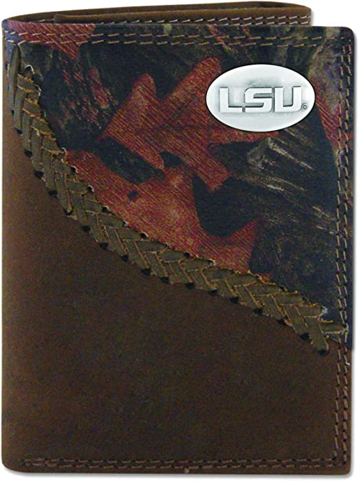 NCAA LSU Tigers Zep-Pro Mossy Oak Nylon and Leather Trifold Concho Wallet Camouflage One Size