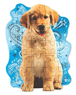 500 Piece Paper House Productions Jigsaw Shaped Puzzle 17 by 23 Inch Golden Retriever Puppies Holiday