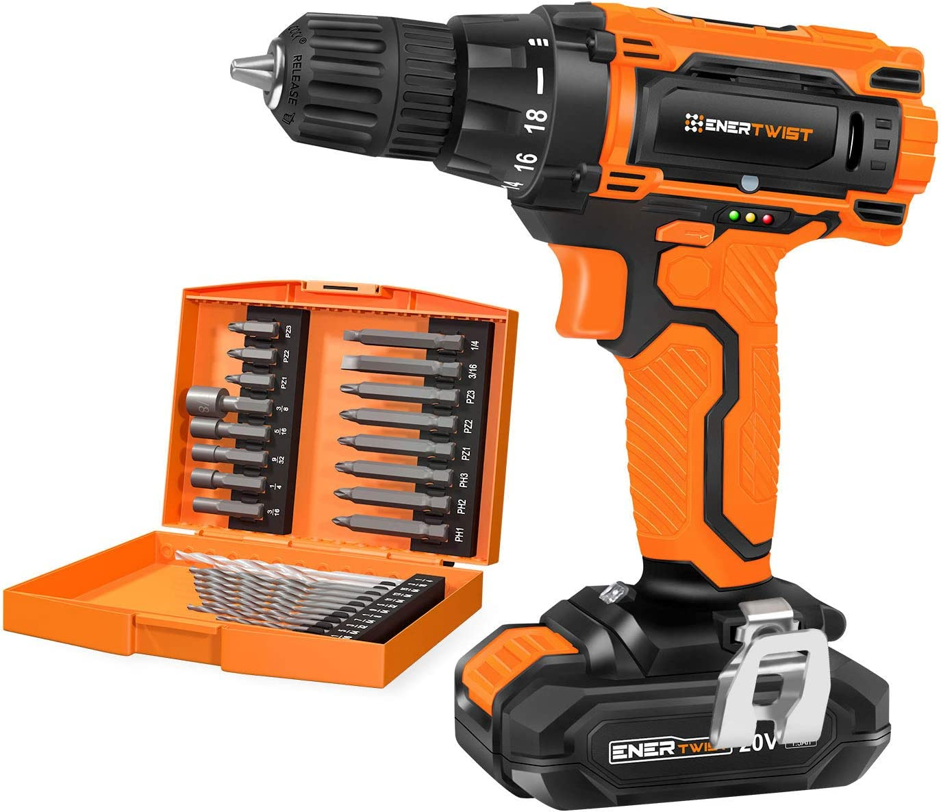 EnerTwist 20V Max Cordless Drill, 3 8 Inch Power Drill Set with Lithium Ion Battery and Charger, Variable Speed, 19 Positions and 28-Pieces Drill Driver Accessories Kit, ET-CD-20