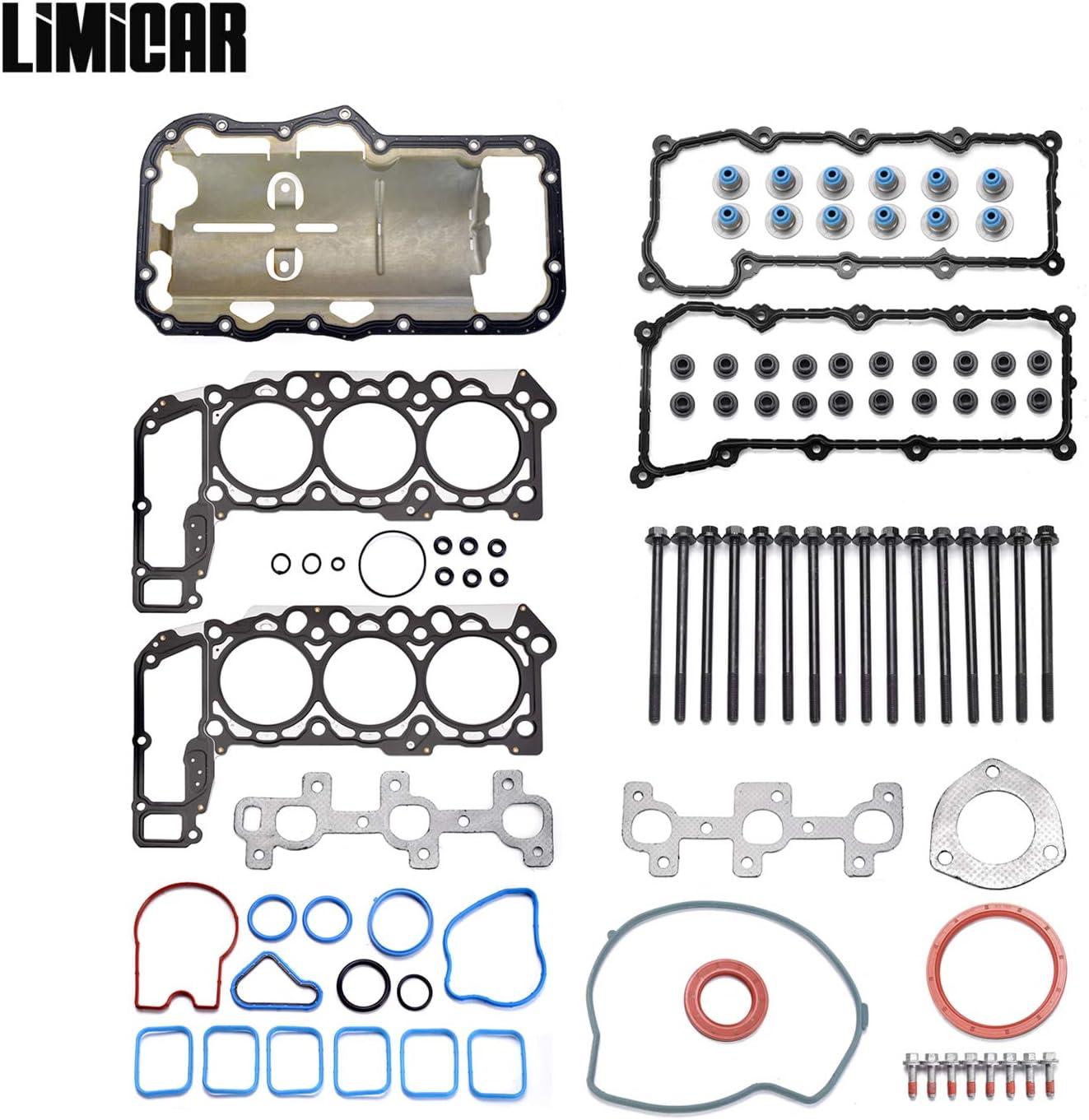 LIMICAR MLS Cylinder Full Head Gasket Set with Head Bolts Compatible with 2002-2005 Jeep Liberty Dodge Ram 1500 2004-2005 Dodge Dakota Durango 2005 Jeep Grand Cherokee 3.7L Vin K