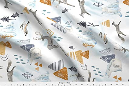 52113a683 Amazon.com  Spoonflower Artic Animals Fabric Northen Lights ...
