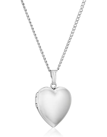 e916b5def Sterling Silver Polished Heart Locket Pendant Necklace