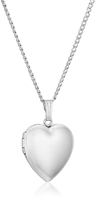 3788456034e Amazon.com  Sterling Silver Polished Heart Locket Necklace