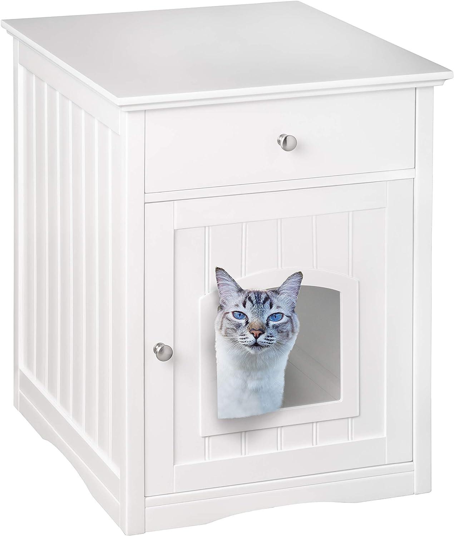 UPP® Casa para gato, cubierta para caja de arena y mueble con cajón, todo en uno I cueva para gato I cobertor para arenero de gato I mueble para gato ...