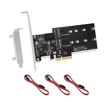 ADWITS PCIe 3.0 4X a 3 Puertos SATA III 6Gpbs y 2 Puertos M.2 B-Key NGFF Tarjeta de expansión de Almacenamiento PCI Express con Controlador Jmicro ...
