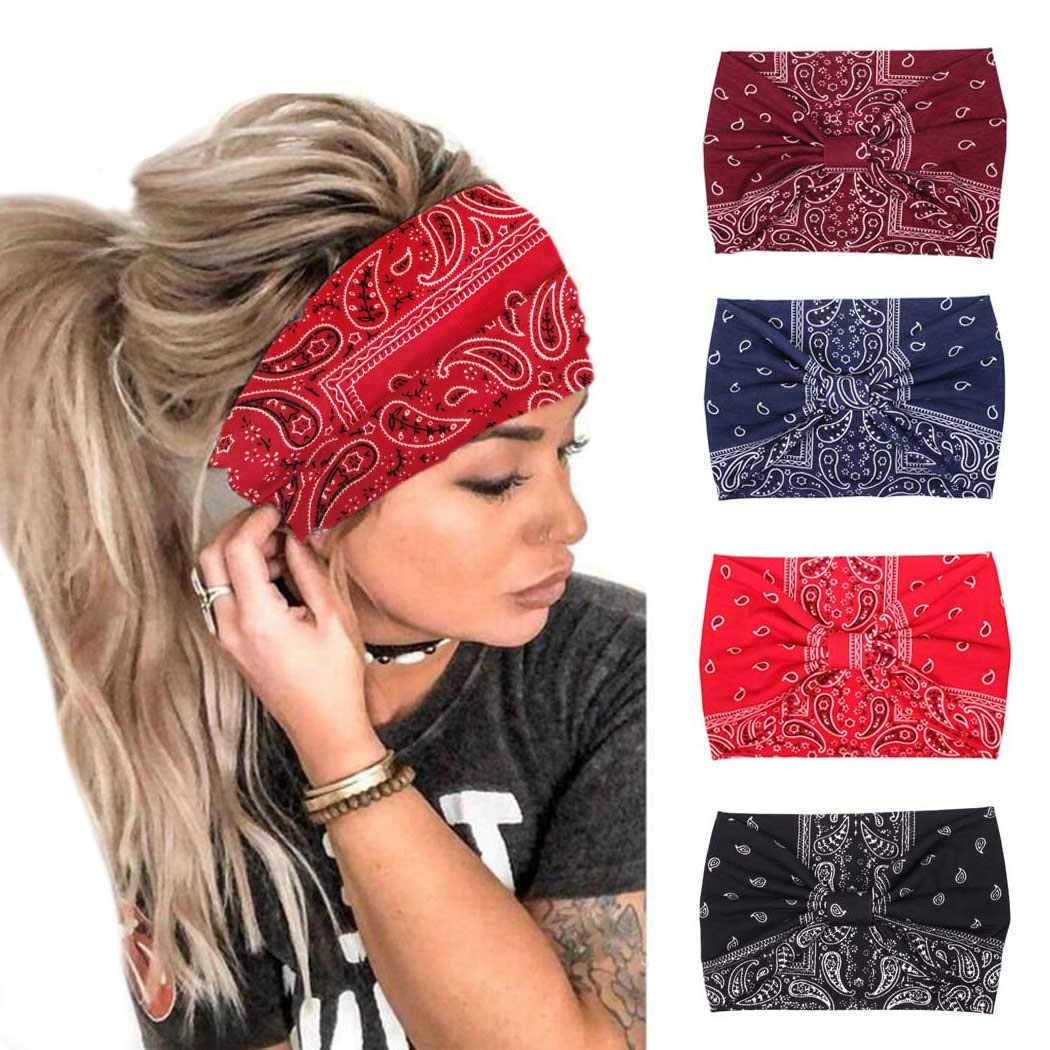 Bohend Boho Headbands Wide knotted Hair Bands Fashion Printing Bandeau Travel Stretchy Cotton Headband Yoga Sport Hair Accessories for Women and Girls (A)
