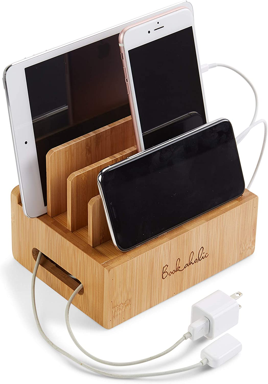 Charging Station & Multi Device Organizer Bamboo Large Capacity Desktop Cord Organizer Dock Compatible with Smartphones iPhone iPad and Tablets-Durable and Eco-Friendly by: Bookaholic