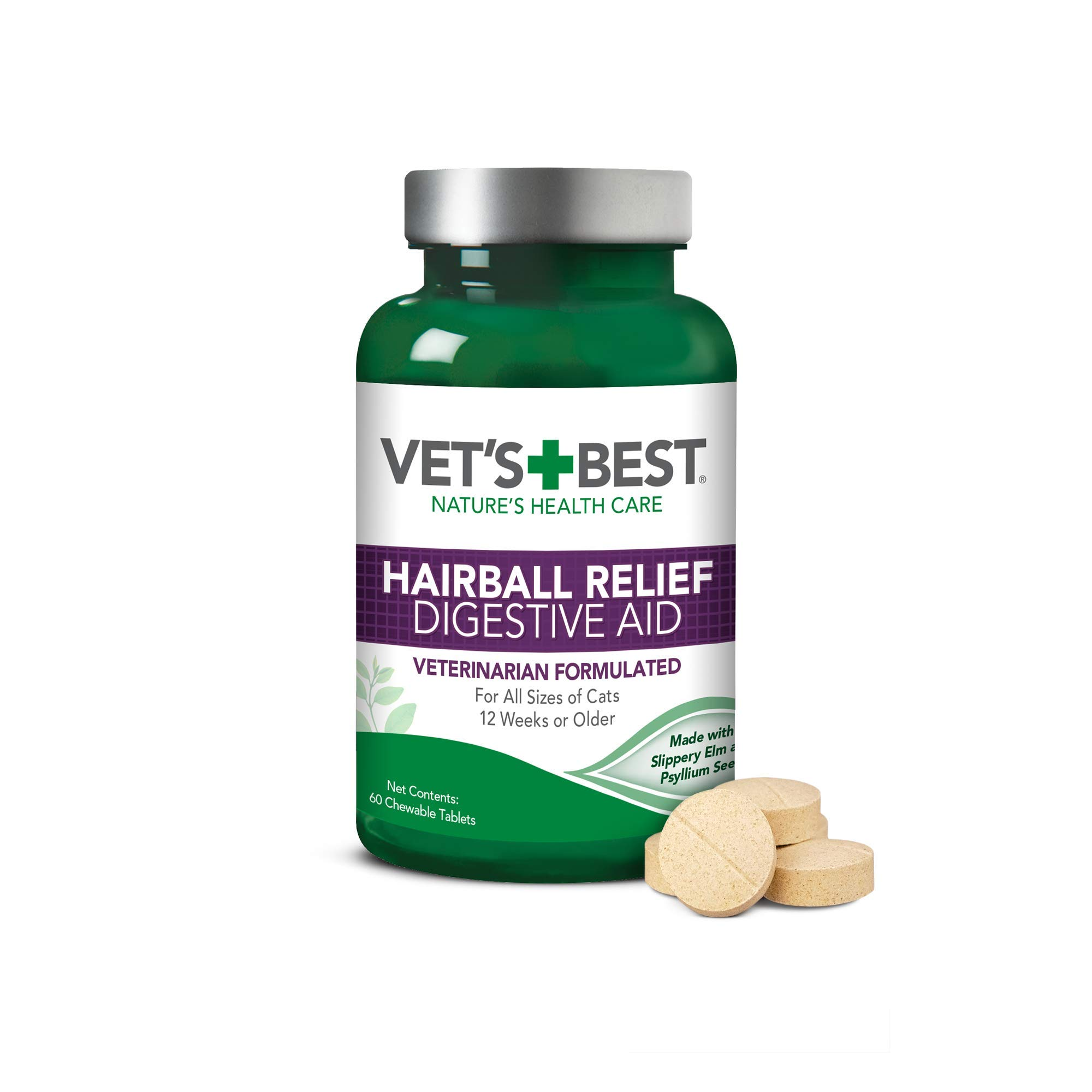 Vet's Best Cat Hairball Relief Digestive Aid  Vet Formulated Hairball Support Remedy   Classic Chicken Flavor