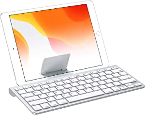 OMOTON iPad 10.2 Keyboard with Sliding Stand, Ultra-Slim Keyboard for iPad 10.2(7th gen)/9.7(6th gen), iPad Air 10.5/9.7, iPad Mini 5/4, and iPhone [Sliding Stand not for iPad Pro 12.9/11],White