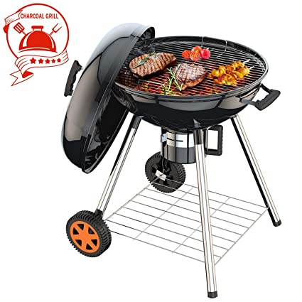 TACKLIFE Charcoal Grill, 22.5 Inch, Barbecue Grill, 0.8 mm Steel, 24 22 38in, 170MM Wheels, 32mm Legs, Rich Screws, Accurate Temperature, Carbon Grid, ...