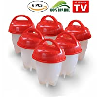 Egglettes - Egg Cooker, Hard-Boiled Eggs Without the Shell, Make Your Favorite Dishes (rouge, 6)