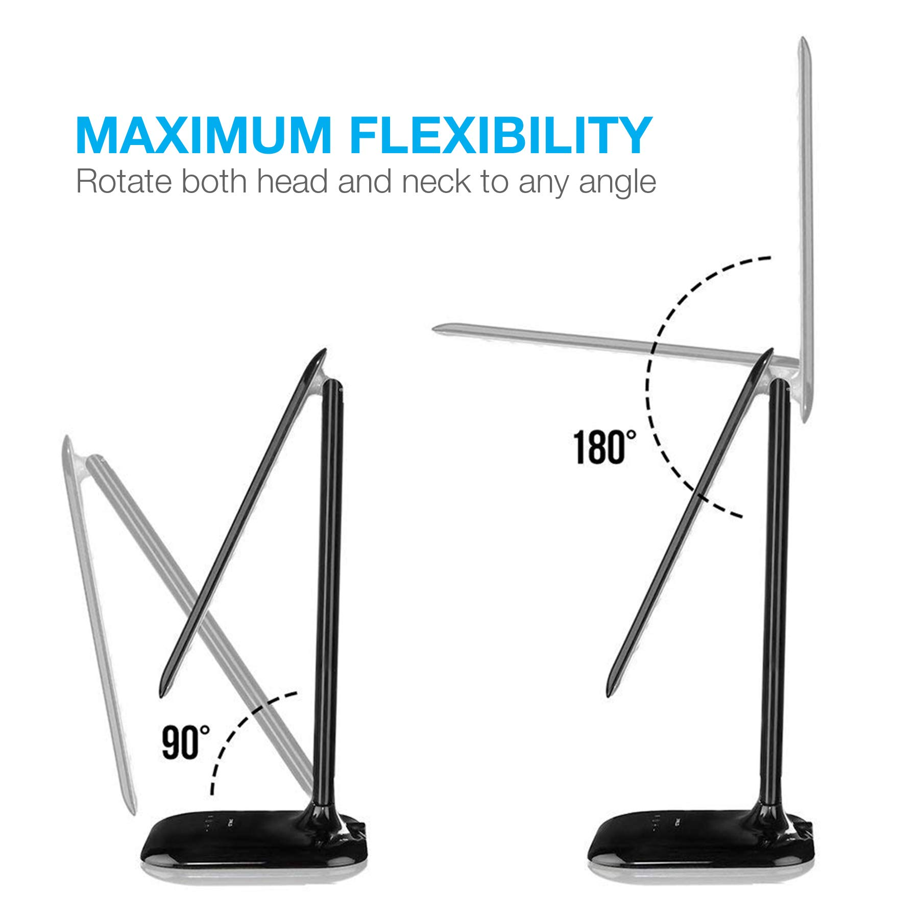 Vont Dimmable LED Desk Lamp - Elegant, Modern and Adjustable - 3 Colors - 5 Brightness Levels - Reading, Studying & Relaxation Modes -Environmentally Friendly - Black by Vont (Image #3)