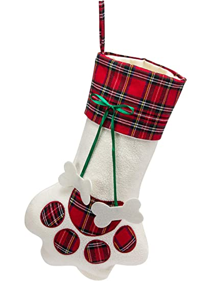 8c55b44e387 MEWTOGO Christmas Paw Stocking-Large Hanging Xmas Stocking Socks for Dog or  Cat 18x11Inch-