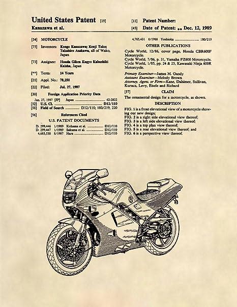 Amazon Com Honda Cbr Patent Prints Honda Motorcycle Patent Art 8 5 X 11 493 Posters Prints