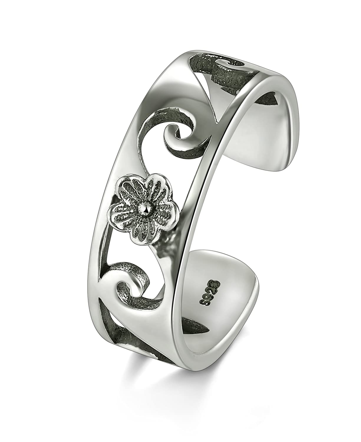 BORUO 925 Sterling Silver Toe Ring, Plumeria Flower Hawaiian Adjustable Band Ring BRC Creative Corp. B071YCD7WJ_US