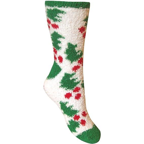 Calcetines térmicos para mujer, diseño navideño, supersuaves y agradables Christmas Holly White Tamaño del zapato 37-41: Amazon.es: Ropa y accesorios
