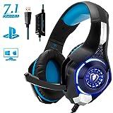 Beexcellent ゲーミングヘッドセット 7.1CH USB PC ヘッドセット 軽量 PCゲーム ヘッドホン 騒音抑制マイク付き (blue)