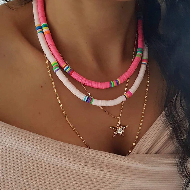 6 colori misti Olgaa Tipo 1 collana girocollo con perline in argilla polimerica Argilla polimerica