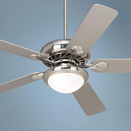 52 Tempra Modern Ceiling Fan with Light LED Dimmable Remote Control Brushed Nickel Silver Blades Opal Glass for Living Room Kitchen Bedroom Family Dining – Casa Vieja