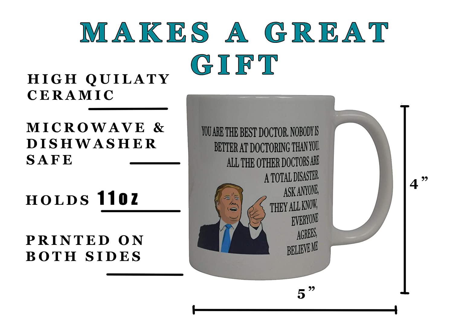 Rogue River Tactical VV160 Funny Best Doctor Donald Trump Coffee Mug Novelty Cup Gift Idea Physician Dr