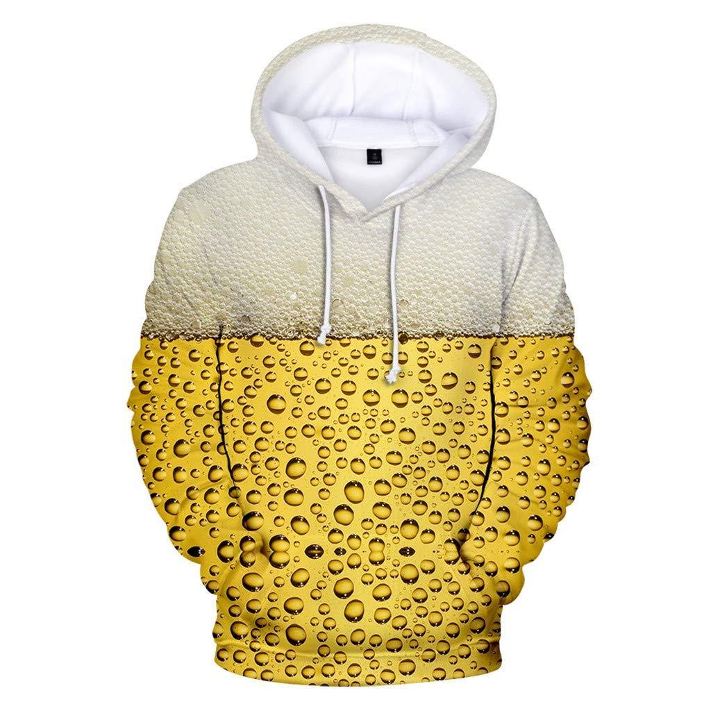 Jhualeek Men's Unisex 3D Graphic Beer Print Realistic Casual Long Sleeve Hoodie Sweatshirt Pockets Pullover Beige