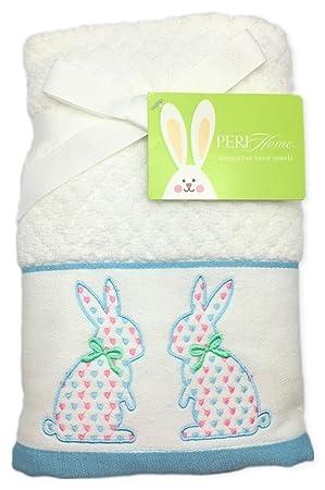 Peri casa bordado Pascua conejo blanco toallas de mano de - Set de 2: Amazon.es: Hogar