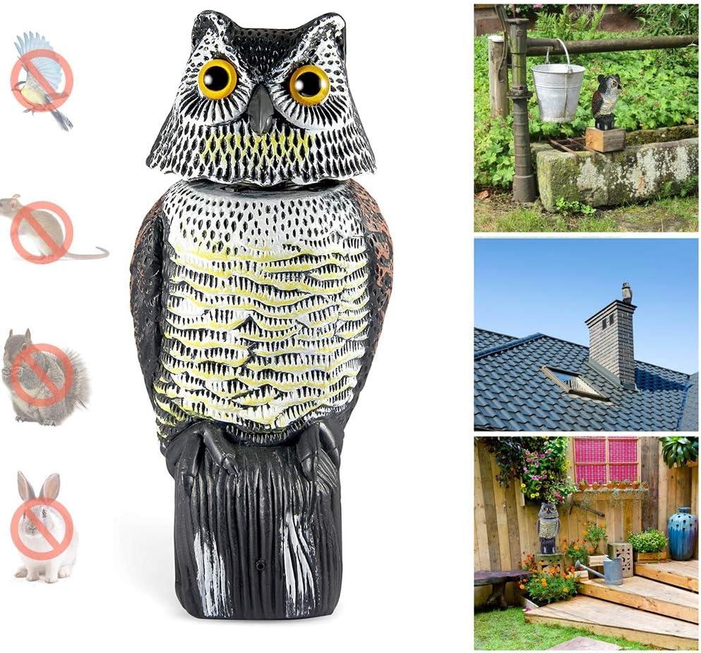 Wing Ahuyentador de Pájaros, Buho Espantapajaros, Realista Búho Señuelo con Cabeza giratoria, Pájaro Cuervo Scarer, Control de Aves para jardín, Patio, Granja etc