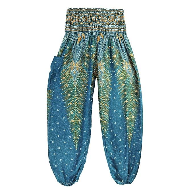 Yying Pantalones Harem Tailandeses Unisex Estampado De Pavo ...