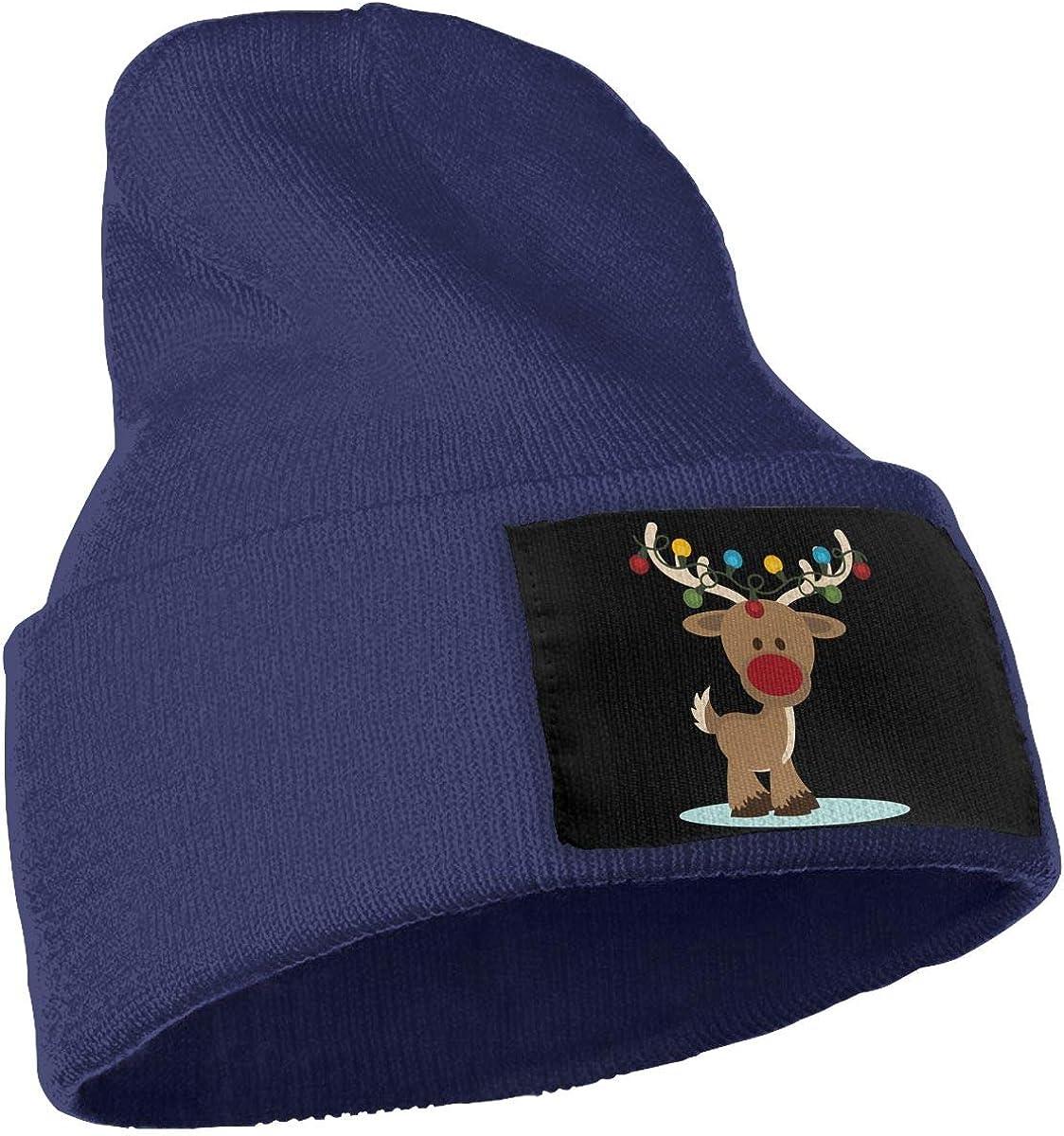Flying Reindeer Christmas Cute Skull Cap WHOO93@Y Mens Womens 100/% Acrylic Knitted Hat Cap