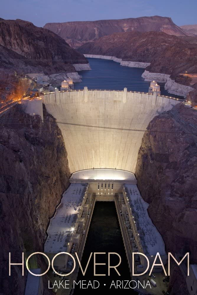 Lake Mead, Arizona - Hoover Dam at Night (24x36 Giclee Gallery Print, Wall Decor Travel Poster)