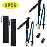 COVVY Tri-Fold Carbon Fiber Trekking Pole Climbing Stick - Folding Telescopic Collapsible Adjustable and Ultralight for Outdoor Walking Hiking Backpacking and Snowshoeing (2PCS, Blue)