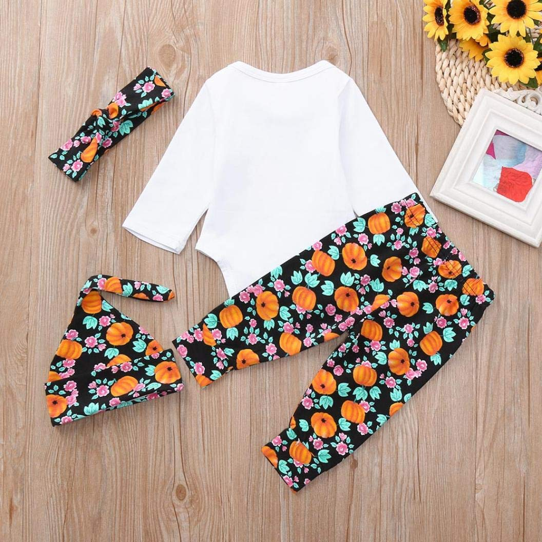 KaiCran Baby Cotton Bodysuit,Mommys Little Pumpkin Long Sleeve Letter Print Romper Floral Pants 4pcs Outfits Set