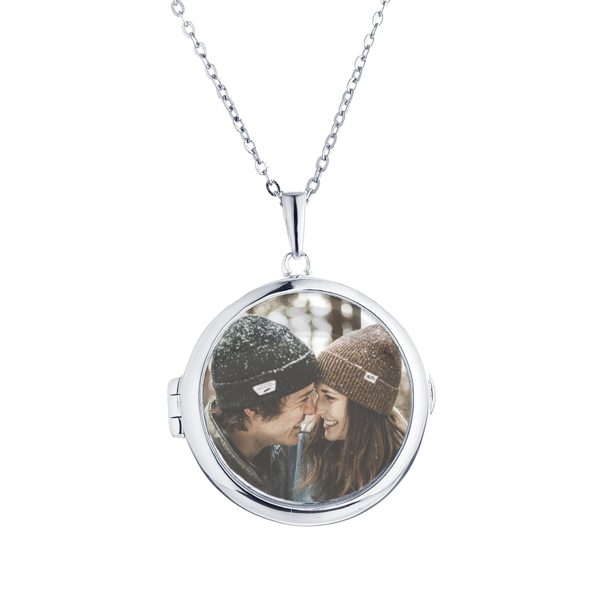 Sterling Silver-Glass-Custom Photo Locket Necklace-22-inch chain-The Zoe by With You Lockets