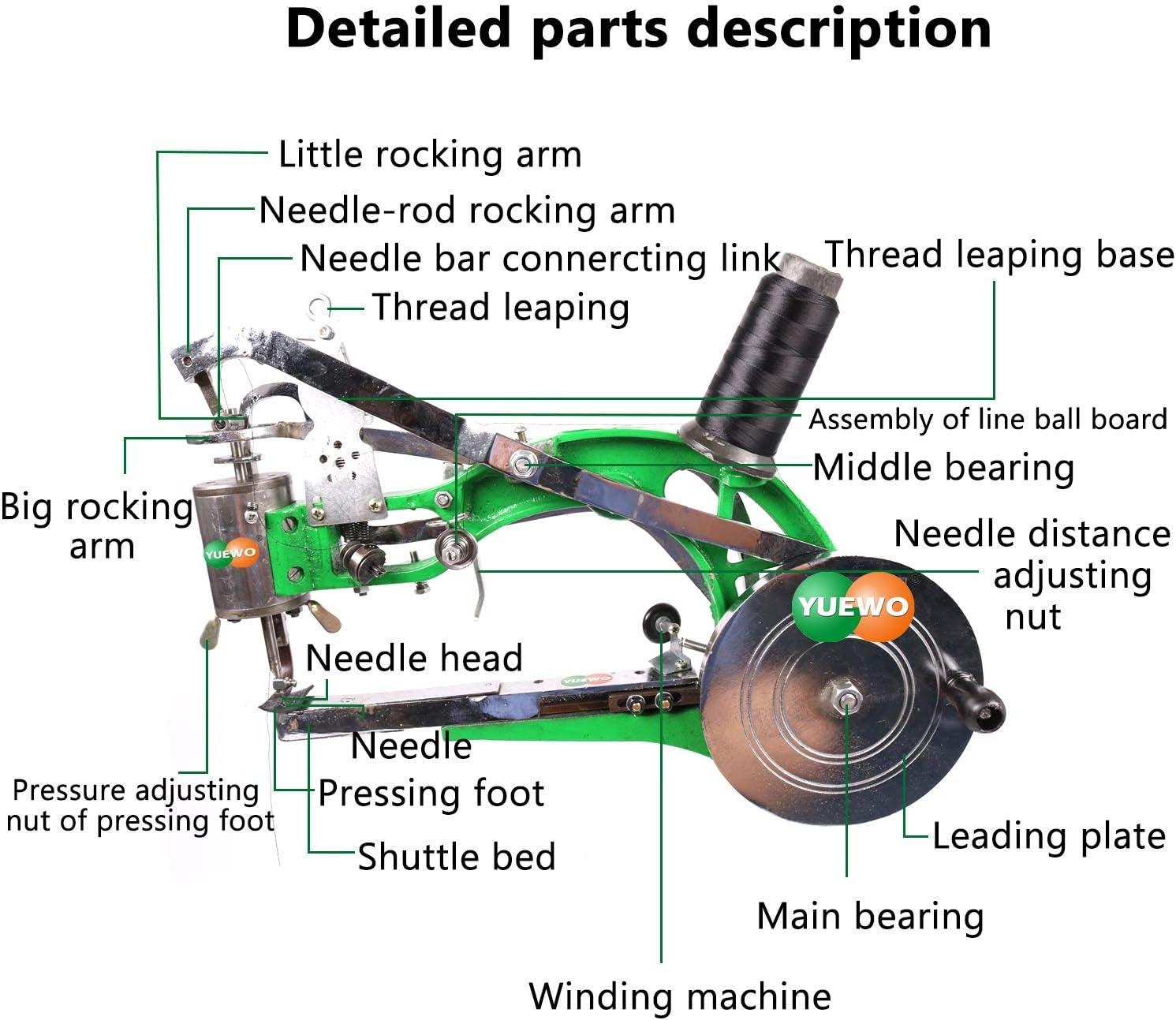 YUEWO DIY Shoe Repair Machine Manual Shoe Mending Sewing Machine Cobbler Shoe Repair Machine Cotton Nylon Line Sewing Machine Green Machine