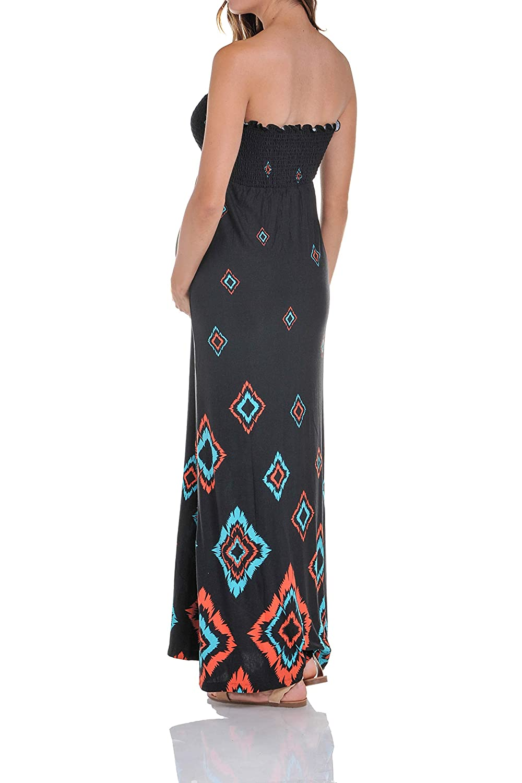 0d02835efc0 Beachcoco Women's Maternity Shirred Bandeau Maxi Dress (Small) at Amazon  Women's Clothing store: