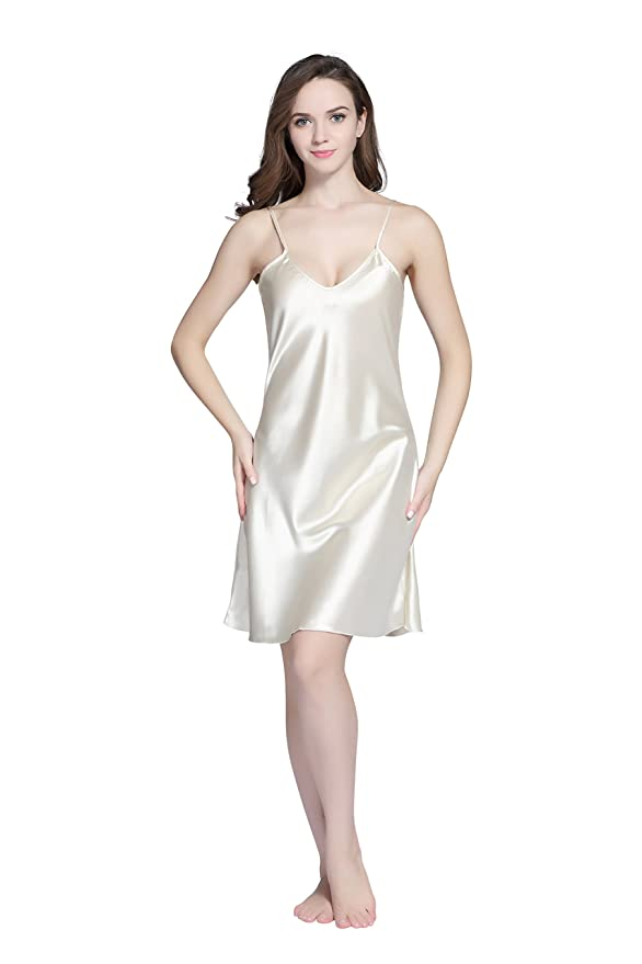 1a1bf3095 Tony   Candice Women s Satin Nightgown Sexy Long Camisole Chemise (Beige