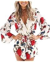 Relipop Women's Floral Print Long Sleeves Short Romper Playsuit Jumpsuit