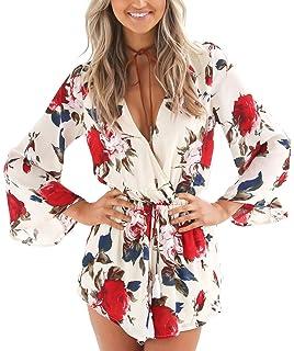 8c84d1476a Relipop Women s Floral Print Long Sleeves Short Romper Playsuit Jumpsuit